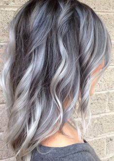 36 Gray Silver Ombre Hair Color Ideas for Attention-Grabbing Gals - Love Casual . - - 36 Gray Silver Ombre Hair Color Ideas for Attention-Grabbing Gals - Love Casual Style Gray Hairstyle Mod. Silver Ombre Hair, Dyed Hair Purple, Brown Ombre Hair, Ombre Hair Color, Hair Color Balayage, Cool Hair Color, Gray Ombre, Hair Colors, Ash Ombre