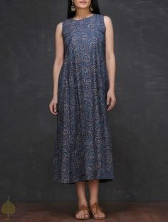 Indigo-Ivory Ajrakh-printed Round Neck Cotton Dress by Jaypore