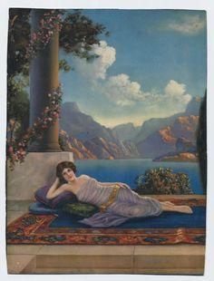 RARE R Atkinson Fox Art Deco Print of Lady Reclining on Rug Beside Lake or Sea | eBay