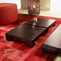 Small coffee tables, very thick (50 mm.) covered in oak