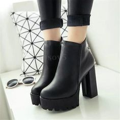 Mujer Plataforma Alto Tacón Tobillo Botas Botines Faux Cuero Zapatos Negro Otoño