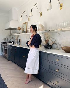 "Athena Calderone on Instagram: ""MY FOREVER HAPPY PLACE Join me and @tiana_webb_evans for Materials Matter — the alchemy of a kitchen. Together with @abcstone we will…"" Hague Blue Kitchen, Thanksgiving Table Settings, Tiana, Inspired Homes, Beautiful Kitchens, Kitchen Interior, Eclectic Kitchen, Home Kitchens, Home Decor"