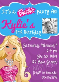 Barbie birthday invitation templates invitation to edit and barbie birthday party digital invitation stopboris Gallery