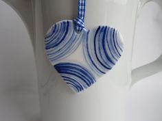 Striped Blue Delft Porcelain Heart Necklace/ by HarrietDamave