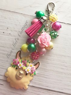 Sweet Llama Zipper Bag Charm/Keychain/with beads and tassel/planner/purse/backpack/mom/mama/drama llama/car rearview mirror/fan pull charm by MissMelsCottage on Etsy Paper Clip Art, Diy Keychain, Etsy Crafts, Zipper Bags, Key Chains, Key Rings, Mini Albums, Jewelry Crafts, Jewellery