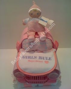 Unique Diaper Cakes-Centerpieces-Baby Shower gift ideas: Car Diaper Cake/Centerpiece/Baby Shower gifts soon-to-be-projects