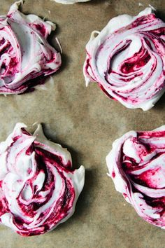 swirly blackberry meringues