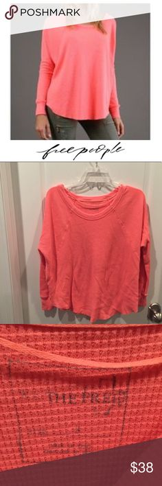 """Free People Neon Pink Waffle Love Bug Thermal Free People Neon Pink Waffle Love Bug Thermal. Oversized, 19"""" bust, 24"""" Long. Gently worn. Great condition. Feel free to make an offer or bundle & save! Free People Tops"""