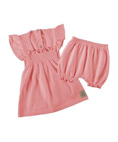 Take a look at this Blush Shirred Dress & Bloomers by Those Baby Basics on #zulily today!