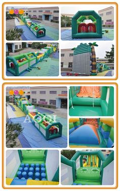 AQ1699 (47*3.3mH/154.20'*10.83') Extra-long inflatable obstacle courses The safari inflatable obstacle course is an popular sports game. This product is a extra-long inflatable obstacle course, and you can go through the top slide until you come to the end. This will be a stimulating and fun process.