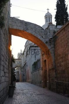 Evening mood in an empty lane on the Via Dolorosa Arab Quarter Old City of Jerusalem Israel Middle East Asia