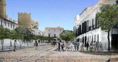 Torreones de la antigua muralla almohade asoman a la calle Ancha en el cruce de la Victoria, año 1920.