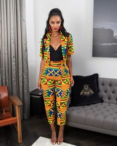 Ankara Styled Suite For Your Boss lady Look Am sure we can remember how it was in the year We saw our gorgeous ladies paint the town red in their African print in style and class. To be honest, i think last year, African print was the fir African Print Pants, African Print Dresses, African Fashion Dresses, African Attire, African Wear, African Women, African Dress, African Style, African Clothes