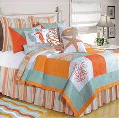 I Love The Look Of Beach Theme Bedding Because It Reminds Me Being On Vacation S A Nice And Calm Feeling When You Have In Room
