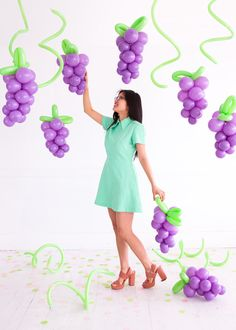 If you remain unconvinced of the supreme awesomeness that is balloons, perhaps this will change your mind. These giant fruit props are made entirely out of balloons and are so easy to create! They mak Fruit Decorations, Balloon Decorations, Birthday Decorations, Wine Party Decorations, Balloon Arch, Balloon Garland, Balloon Wall, Fruit Birthday, Birthday Parties