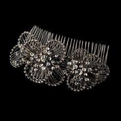 Antique-Silver Crystal Vintage Bridal Hair Comb 598