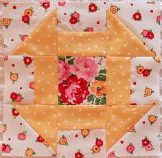 I like the coordinating center and outer fabrics. Lincolns Platform block ~ Pam Kitty Morning