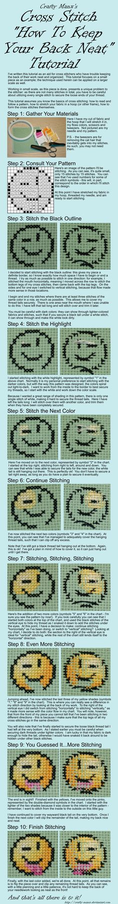 "Cross Stitch Kits Cross Stitch ""How To Keep Your Back Neat"" Tutorial I've written this tutorial as an aid to cross stitchers who have trouble keeping the back of their work neat. A neat back not only looks nice. Cross Stitch Finishing, Cross Stitch Love, Modern Cross Stitch, Cross Stitch Flowers, Cross Stitch Kits, Cross Stitch Charts, Cross Stitch Designs, Cross Stitch Patterns, Cross Stitching"