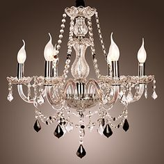 6-light The style of palace Glass Chandelier With Candle Bulb – USD $ 199.99