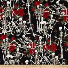 Designed by The DeLeon Design Group for Alexander Henry, this cotton print is perfect for quilting, apparel and home decor accents.  Colors include black, white, grey, red and green. - $9.78 / yard