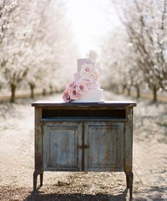 Outdoor wedding decor - wedding cake design - cake stand Almond Orchard Wedding Inspiration
