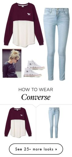 """Untitled #83"" by jacqueline66 on Polyvore featuring moda, Frame Denim, Victoria's Secret PINK y Converse"