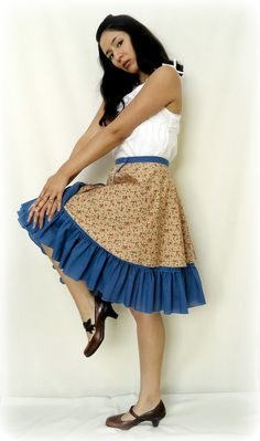 1950s Circle Skirt Reversible Ruffle Blue Beige by ReverseClothing, $36.75