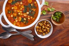 Moroccan-Style Soup with Smoked Tofu Croutons Kitchen Recipes, Paleo Recipes, Soup Recipes, Recipies, Canadian Living Recipes, Canning Whole Tomatoes, Hot Soup, Moroccan Style, Lunches And Dinners