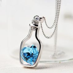 New Women Love Drift Bottles Necklace 2016 Fashion Ladies Fashion Popular Crystal Necklace