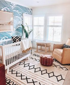 Bamboo and Ocean themed nursery idea that feels relaxing for both mother and baby room design boy Baby Bedroom, Baby Room Decor, Nursery Decor, Bedroom Kids, Project Nursery, Budget Nursery, Kids Rooms, Baby Boy Nursery Themes, Boy Nursery Rugs