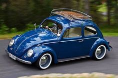 Dark blue VW Classic Beetle