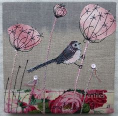 Long Tailed Tit embroidery, hand dyed fabrics free motion embroidery.