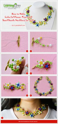 How to Make Colorful Flower Pearl and Seed Beads Necklace for Girls #tutorial #necklace #beadsnecklace #pandahall
