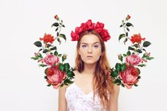 55% off POPPY - bright red floral crown - Ready to Ship - back to school sale