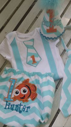 finding Nemo boys first birthday cake smash outfit by bdaysmash