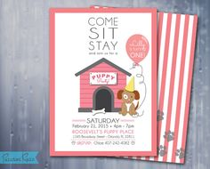 Puppy Birthday Invitation Puppy Party Puppy by PaintedRainPrints