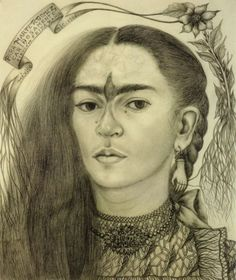 """...      Frida Kahlo, """"Self Portrait dedicated to Marte R. Gomez,"""" 1946, pencil on paper.    I remember being so emotional when I came across this drawing for the first time.. so perfect, the bird and the root caught in the hand earring and the tiny tears and just seeing all her marks"""