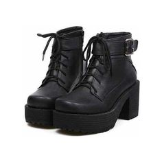 2013 Womens Block heels Chunky Platform Goth Lace Up Lady's Combat... ❤ liked on Polyvore featuring shoes, boots, ankle booties, footwear, heels, lace up heel booties, chunky heel ankle booties, ankle boots, heeled booties and combat boots