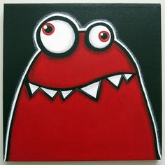 Items similar to a WEEk oF mOnSTeRs - MONDAY - part of a series - original acrylic painting, monster art, monster decor, monster nursery on Etsy Cartoon Monsters, Cute Monsters, Painting For Kids, Drawing For Kids, Monster Kindergarten, Art Wall Kids, Art For Kids, Monster Nursery, Monster Decorations