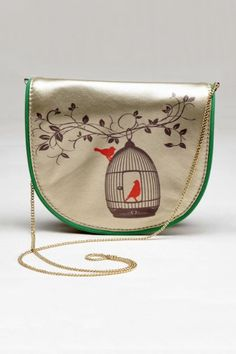 """Freedom Print Bag - Free birds print satchel with a flap and a snap button closure. Interlocked chain detail shoulder strap.  Colour:  Multi.  Material:  PU Leather.  Dimensions:  6.8"""" x 6"""".  Estimated delivery within 14 - 21 days after ordering."""