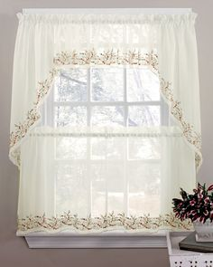 Heather Curtains Are A Beautiful Ivory Sheer Delicately Embroidered With  Flowers U0026 Leaves. #Sheer