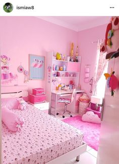 56 ideas bedroom girls pink small rooms for 2019 Girl Bedroom Designs, Room Ideas Bedroom, Small Room Bedroom, Trendy Bedroom, Bedroom Colors, Girls Bedroom, Bedroom Decor, Small Rooms, Kawaii Bedroom