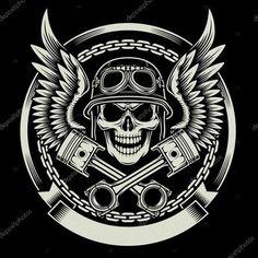 Vintage Biker Skull avec ailes et emblème de Pistons — Illustration #81960520