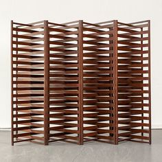 For inspiration - A Joaquim Tenreiro, Brazil, Accordion folding screen in jacaranda. A screen can be used behind a sofa to delineate the sitting room space from the dining room Folding Screen Room Divider, Room Divider Headboard, Metal Room Divider, Partition Screen, Bamboo Room Divider, Living Room Divider, Room Divider Walls, Diy Room Divider, Folding Screens