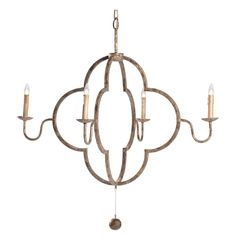 Lewis Quatrefoil French Country Chipped Gold Chandelier