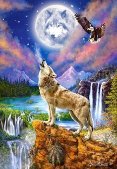 Castorland, Wolf& Night, 1500 parts - Puzzle - Eagle Pictures, Wolf Pictures, Wolf Craft, Native American Wolf, Wolf Painting, Diy Painting, Wolf Artwork, Fantasy Wolf, Wolf Spirit Animal