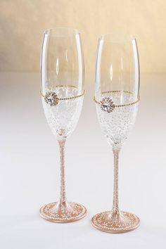 1885293d1e Rose Gold Wedding Glasses Wedding Champagne Flutes Gold Toastin Flutes Rose  Cold Vintage Wedding G