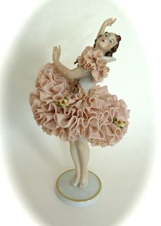 Antique Porcelain Figurine Volkstedt Ballerina Dancer Germany Dresden Lace Girl | eBay