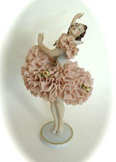 Antique Porcelain Figurine Volkstedt Ballerina Dancer Germany Dresden Lace Girl | eBay