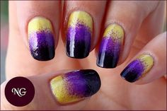 Gold Purple Black nail fade